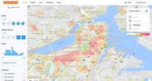AVUXI's TopPlace™ heat maps on KAYAK showing the most popular city areas